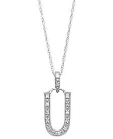 14k White Gold Necklace, Diamond Accent Letter U