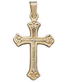 14k Gold Pendant, Florentine Cross
