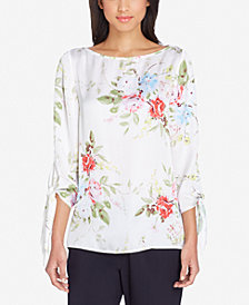 Tahari ASL Tie-Sleeve Top, Regular & Petite