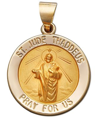 14k gold pendant saint jude necklaces jewelry watches macys 14k gold pendant saint jude mozeypictures Gallery