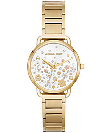 Michael Kors Women's Mini Portia Gold-Tone Stainless Steel Bracelet Watch 32mm