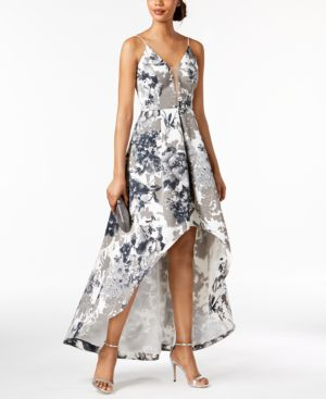 PRINTED HIGH-LOW GOWN, REGULAR & PETITE SIZES