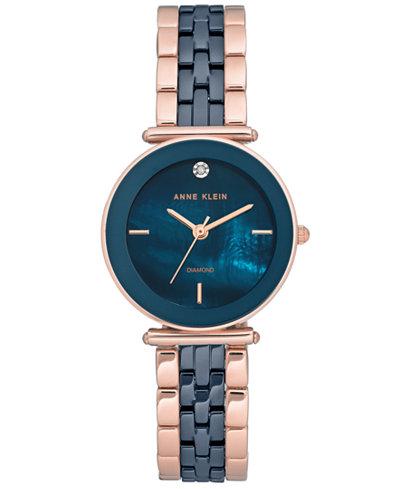 Anne Klein Women's Diamond-Accent Rose Gold-Tone & Navy Bracelet Watch 30mm