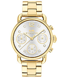 COACH Women's Chronograph Delancey Sport Gold-Tone Stainless Steel Bracelet Watch 36mm