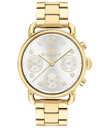 COACH Women's Chronograph Delancey Sport Gold-Tone Stainless Steel Bracelet Watch 36mm