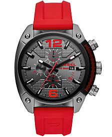 Diesel Men's Chronograph Overflow Red Silicone Strap Watch 49mm