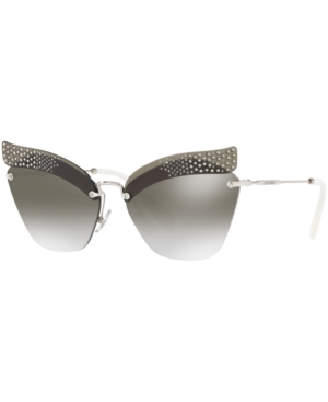 1c68f6145c Miu Miu Rimless Butterfly Metal Sunglasses With Gradient Mirror Lenses In  Silver