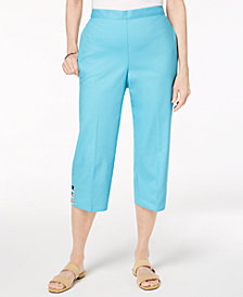 Alfred Dunner Petite Turks & Caicos Pull-On Cutout-Hem Cropped Pants