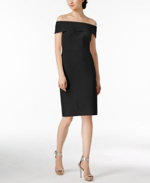 OFF-THE-SHOULDER SCUBA CREPE DRESS, REGULAR & PETITE SIZES