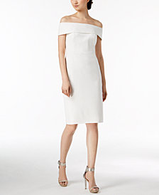 Calvin Klein Off-The-Shoulder Scuba Crepe Dress, Regular & Petite Sizes
