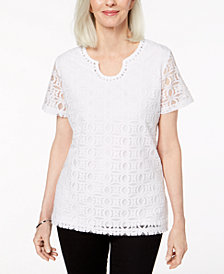 Alfred Dunner Petite Perfect Match Embellished Lace Top