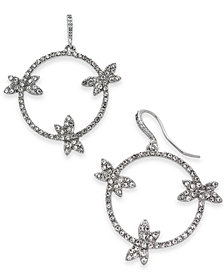 I.N.C. Woman Silver-Tone Pavé Dragonfly Drop Hoop Earrings, Created for Macy's