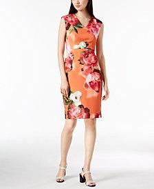 Calvin Klein Floral-Print Scuba Crepe Dress, Regular & Petite