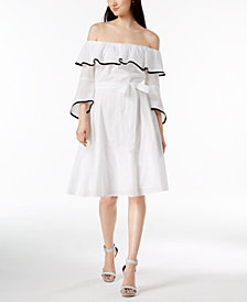 Calvin Klein Cotton Off-The-Shoulder Dress
