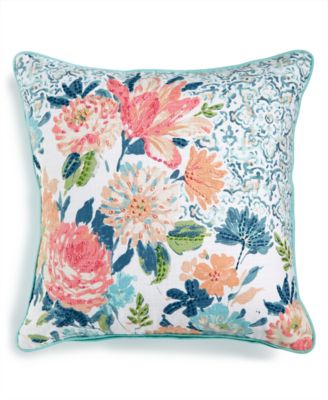 """LAST ACT! Ravella 20"""" Square Embroidered Floral-Print Decorative Pillow, Created for Macy's"""