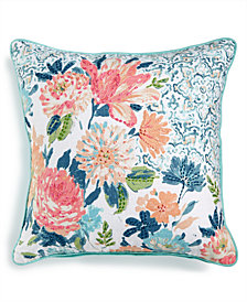"Lacourte Ravella 20"" Square Embroidered Floral-Print Decorative Pillow, Created for Macy's"