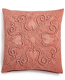 "Lacourte Stratton 20"" Square Cord Embroidered Decorative Pillow, Created for Macy's"