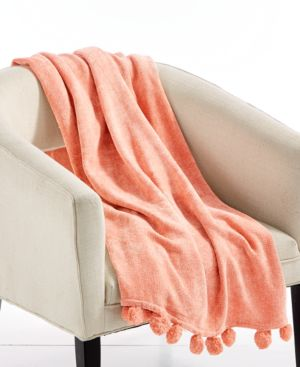 """Last Act! Lacourte Devon Coral 50"""" x 60"""" Chenille Throw, Created for Macy's 6004125"""