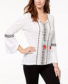 Style & Co Petite Embroidered Peasant Top, Created for Macy's