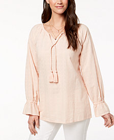 Style & Co Petite Tasseled Embroidered Top, Created for Macy's