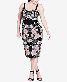 City Chic Trendy Plus Size Floral-Print Bodycon Dress