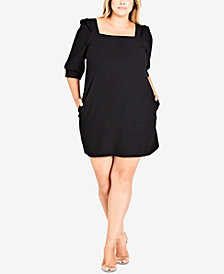 City Chic Trendy Plus Size 3/4-Sleeve Shift Dress
