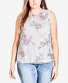 City Chic Trendy Plus Size Printed-Overlay Top