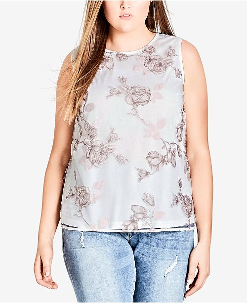 Plus Overlay Chic City Trendy Ivory Top Printed Size ErHvvncyq
