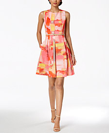 Ellen Tracy Petite Belted Fit & Flare Dress
