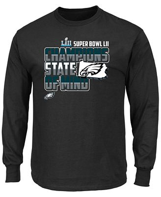 Authentic NFL Apparel Men's Philadelphia Eagles Super Bowl LII Champ State Hook Long Sleeve T-shirt