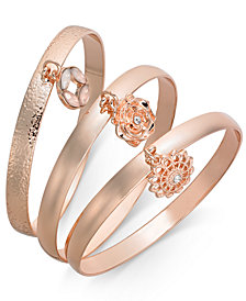 I.N.C. 3-Pc. Set Crystal Charm Bangle Bracelets, Created for Macy's