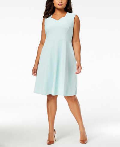 Calvin Klein Plus Size Scuba Fit & Flare Dress
