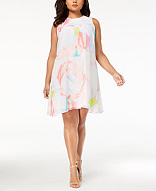 Calvin Klein Plus Size Printed Chiffon Trapeze Dress