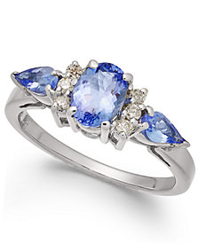Tanzanite (1-1/2 ct. t.w.) & Diamond (1/8 ct. t.w.) Ring in 14k White Gold