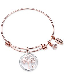 Family Tree Glass Shaker Charm Adjustable Bangle Bracelet in Rose Gold-Tone Stainless Steel