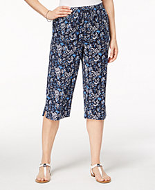 Karen Scott Petite Printed Capri Pants, Created for Macy's