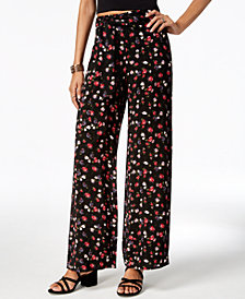 One Hart Juniors' Printed Tie-Front Soft Pants, Created for Macy's