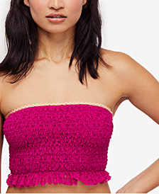 Free People Callie Smocked Lace Bandeau