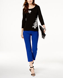 I.N.C. Floral-Appliqué Embellished Top & Cropped Straight-Leg Pants, Created for Macy's