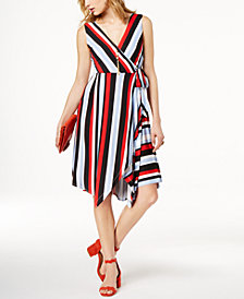 I.N.C. Striped Faux-Wrap Handkerchief Dress, Created for Macy's