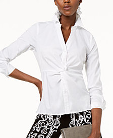 I.N.C. Petite Twist-Front Button-Down Top, Created for Macy's