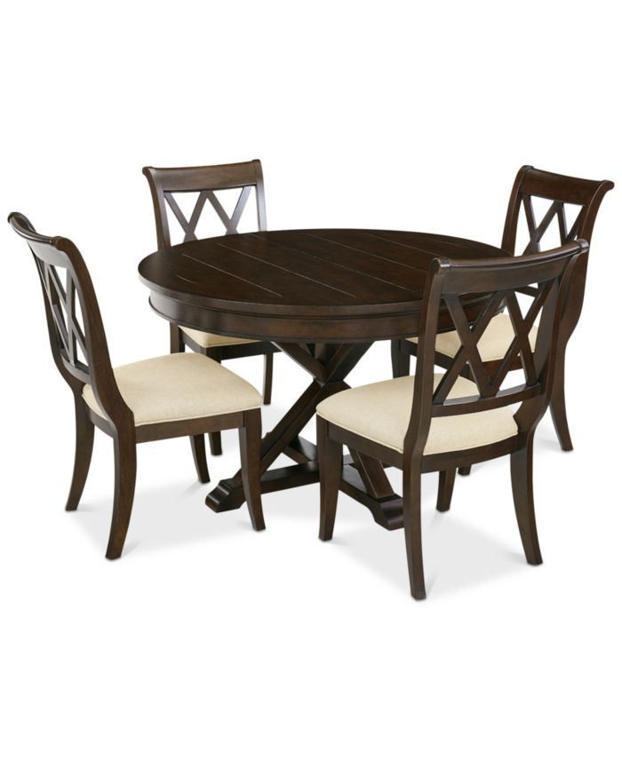 Furniture Baker Street Round Expandable Dining Furniture, 5-Pc. Set (Dining Table & 4 Side Chairs), Created for Macy's & Reviews - Furniture - Macy's