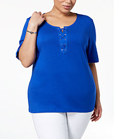 Karen Scott Plus Size Cotton Lace-Up Top, Created for Macy's