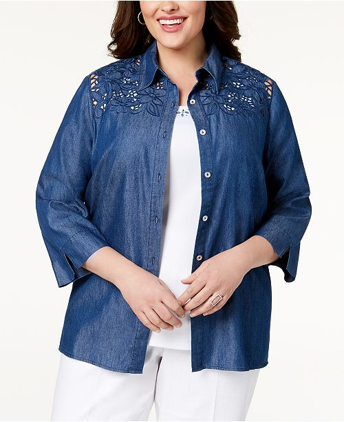 Plus Size Sun City Layered-Look Embroidered Denim Shirt