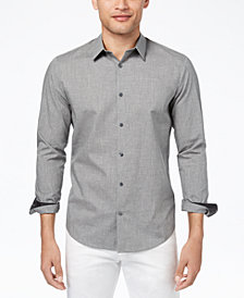 Calvin Klein Men's Heathered French Placket Shirt