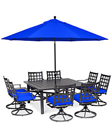 "CLOSEOUT! Highland Blue Aluminum Outdoor 9-Pc. Dining Set (64"" Square Dining Table and 8 Swivel Rockers) with Sunbrella® Cushions, Created for Macy's"