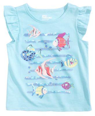 Sequin Fish-Print Flutter T-Shirt, Little Girls, Created for Macy's