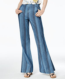 Bar III Cotton Striped Wide-Leg Jeans, Created for Macy's