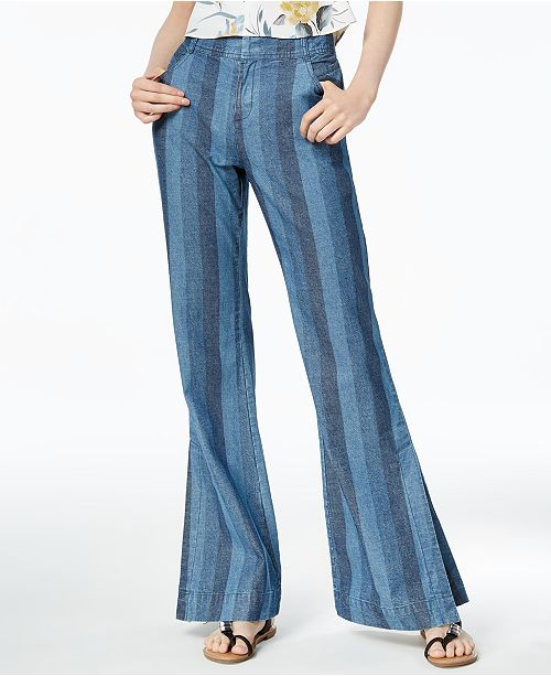 Cotton Striped Wide-Leg Jeans, Created for Macy's