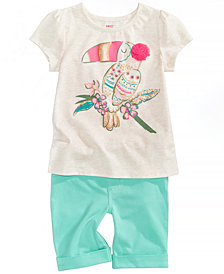 Epic Threads Graphic-Print T-Shirt & Bermuda Shorts, Little Girls, Created for Macy's